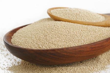 leavening: Yeast in wooden spoon