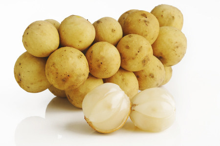 langsat fruit on white background