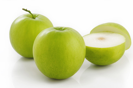jujube fruits: Green jujube fruit on white background