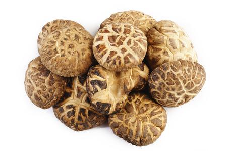 dried shiitake mushrooms on white background Фото со стока
