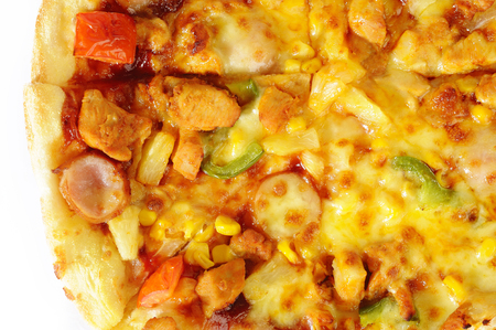 bbq chicken: pizza with bbq chicken, sausage and vegetables