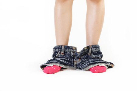 pantalones abajo: mujer sorprendida con los pantalones abajo