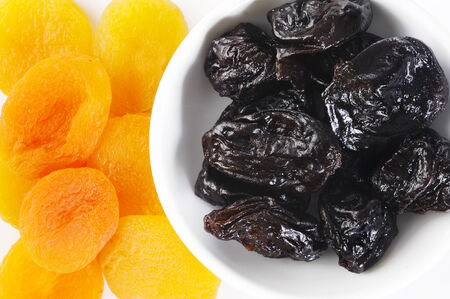 dried plums: Dried plums and apricots Stock Photo