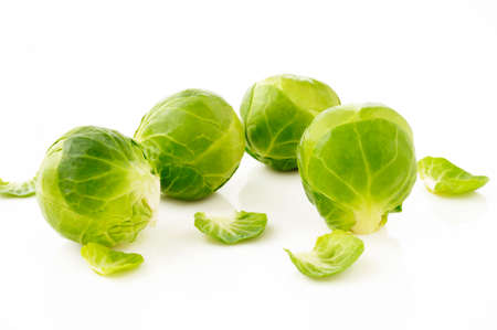 Brussels sprouts on white Stock Photo
