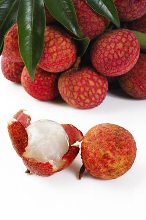 litschi: lychees on white  Stock Photo