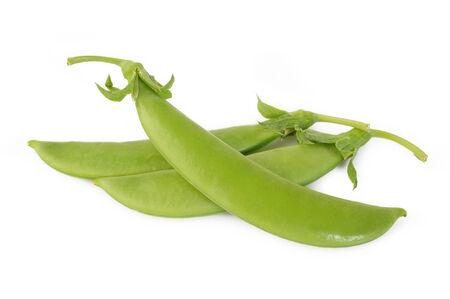 snap: fresh sugar snap peas on white background