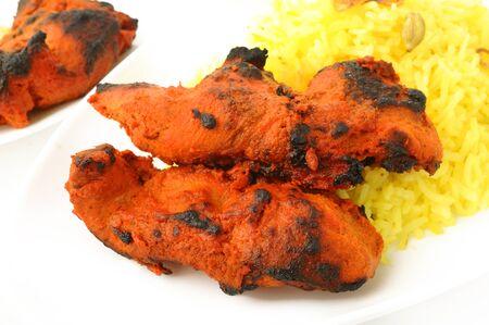 tandoori chicken: Tandoori chicken tikka with pilau rice
