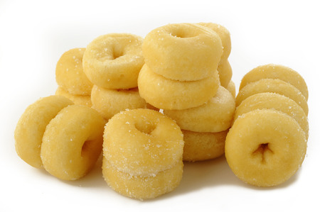 Mini donuts on white background