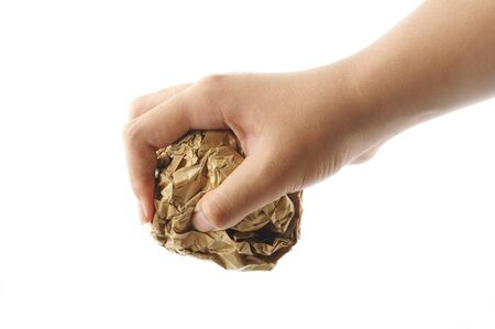 scrunch: Hand holding crumpled paper Stock Photo