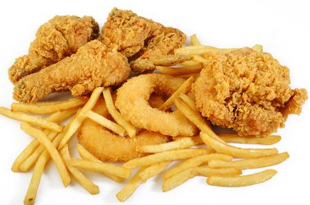 Alimentos fritos en el fondo blanco Foto de archivo - 42241946