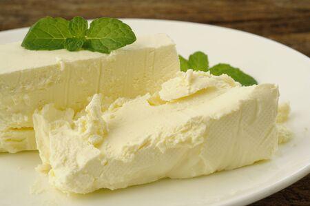 cream cheese with mint Фото со стока