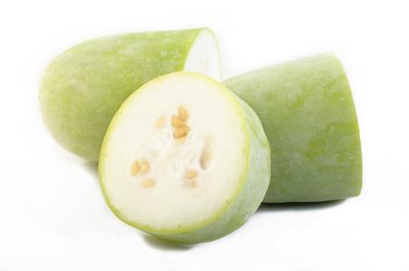 ash gourd: Slices of wax gourd on white background Stock Photo