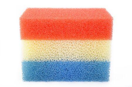 synthetic: synthetic sponge on white background Stock Photo