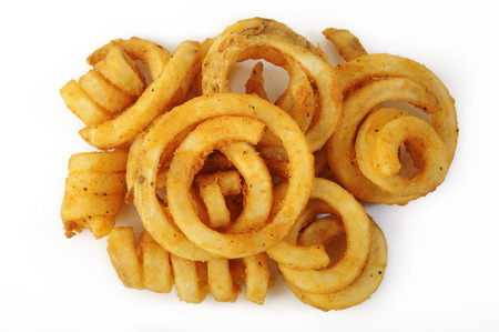 Curly Fries on white background Фото со стока