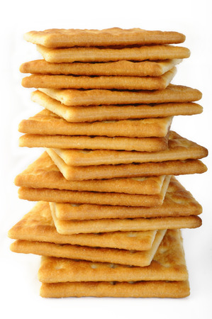 sal: salty crackers on white background