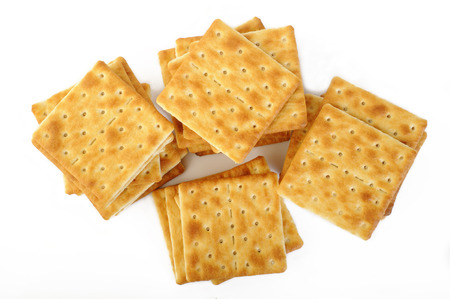salty: salty crackers on white background