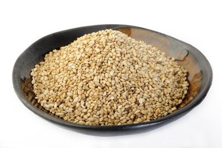 roasted sesame: roasted sesame seeds in bowl Stock Photo