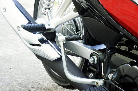 footrest: kick start motorcycle and motorcycle footrest Stock Photo