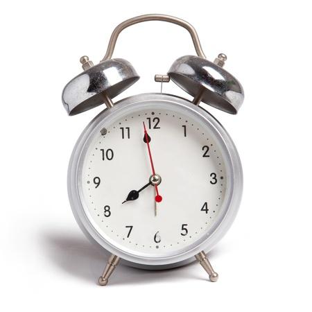 isolate of aluminium alarm clock Standard-Bild