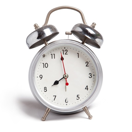 isolate of aluminium alarm clock Stock Photo