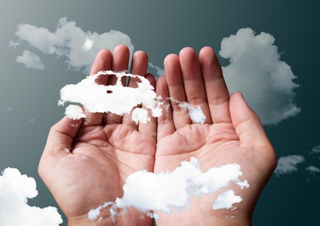 cloud car in hands Stock Photo