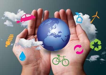 energy conservation: two hands save the earth white ecological Stock Photo