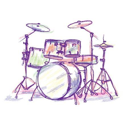 drum kit: colorful drum drawing  Stock Photo