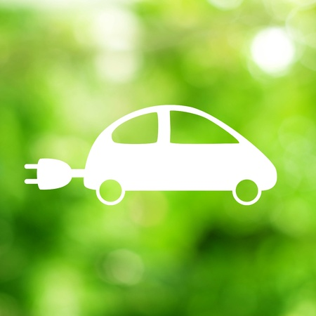 charge: Green ecological electric car sign.