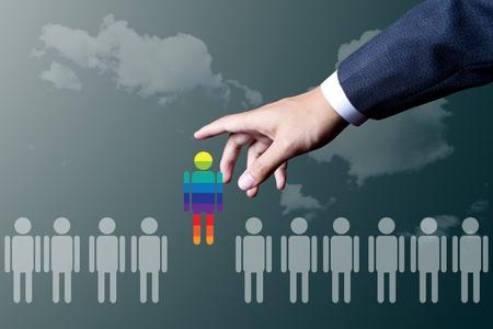 business hand choosing unique people