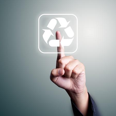 environmentalist tag: recycle push Stock Photo