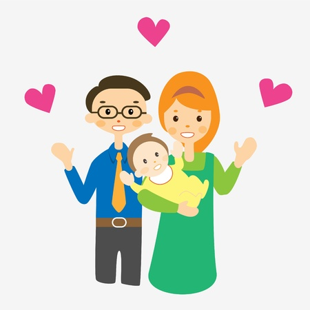 happy family in colorful  photo