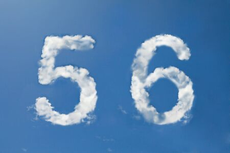big five: 5 and 6 clouds number Stock Photo