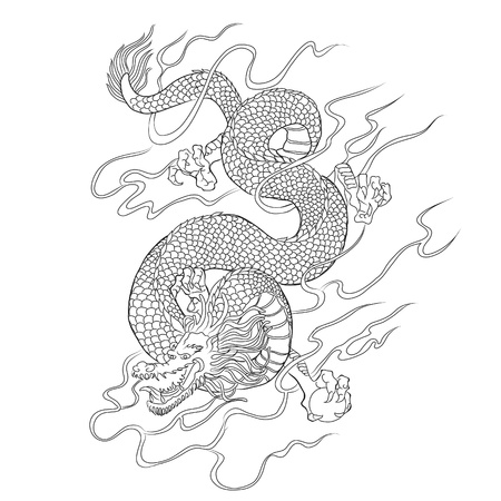 Chinese dragon line art vector Standard-Bild