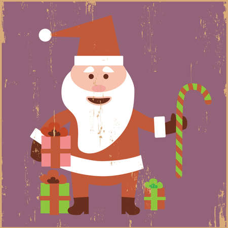 Vintage Santa in grunge background photo