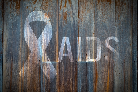 aids symbol: old wood planks texture background