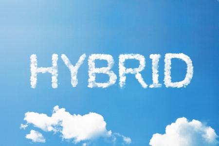 Hybride cloud woord op de hemel Stockfoto