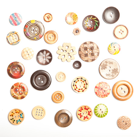 black and white sewing: wooden buttons