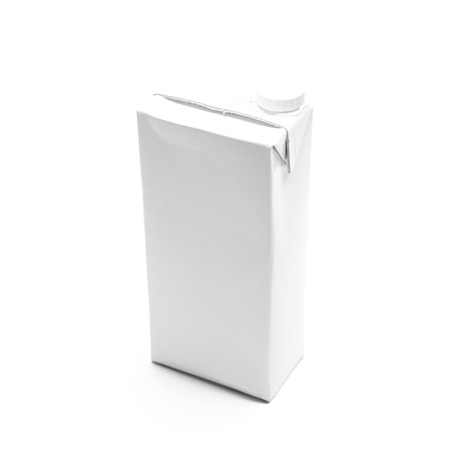 Milk box packaging on white background photo