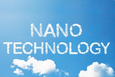 Nano technology cloud word on sky Stock Photo