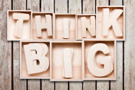 Think big wood typography style