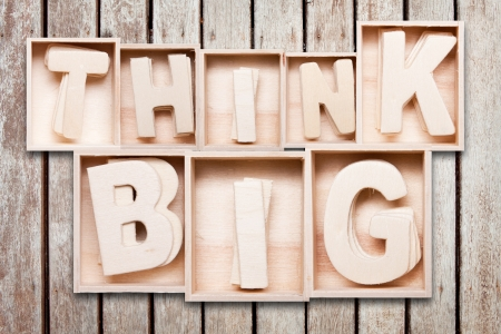 Think big wood typography style
