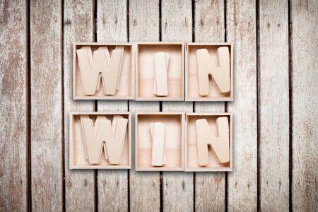 Win win wood word style photo
