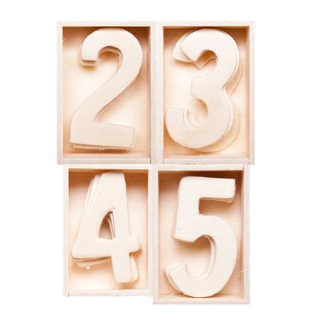 4 5: 2,3,4,5 wood alphabet in block