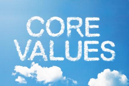 Core value a cloud  massage on sky