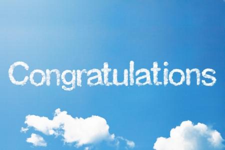 Congratulation a cloud word on sky