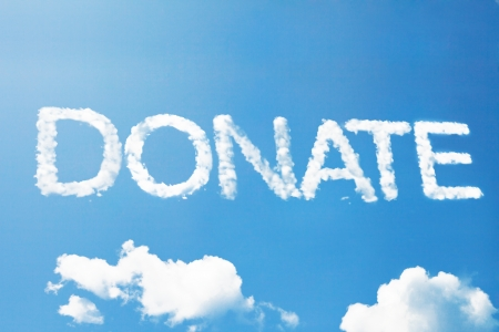 giving money: Donate a cloud word on sky