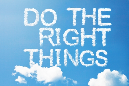 Do the right things a cloud  massage on sky Stock Photo