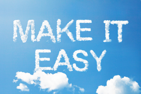 easy way: Make it easy a cloud massage on sky Stock Photo
