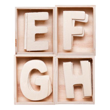 e alphabet: E,F,G,H wood alphabet in block
