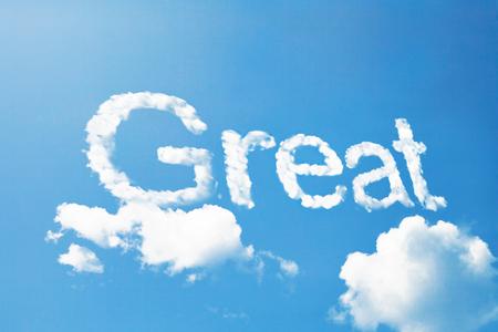 great success: great cloud massage on sky